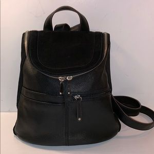 TIGNANELLO Black Leather & Suede Small Backpack